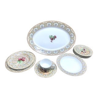 1960s Vintage Patrick Frey for Philippe Deshoulieres, Limoges France Dinnerware - 10 Pieces For Sale