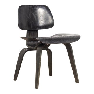 Vintage Eames for Herman Miller Black Dcw Dining Chair For Sale