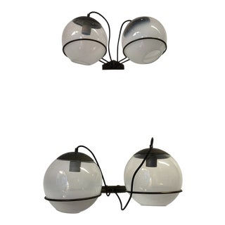 Sarfatti for Arteluce Attributed Wall Sconces With Two Glass Globes & Black Frame - a Pair For Sale