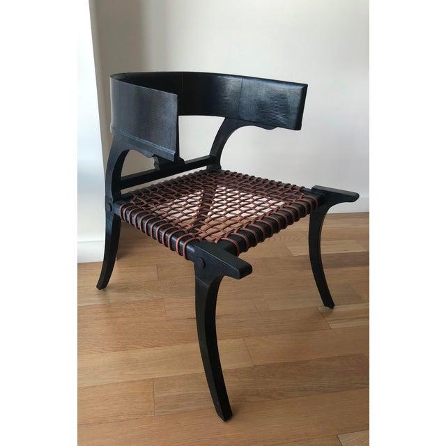 Black D Klismos Chair in Black Lizard For Sale - Image 8 of 8