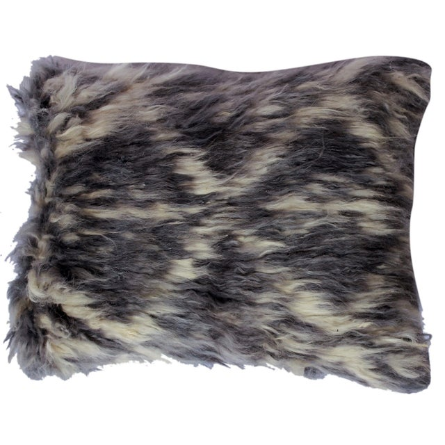 "Debrah Gray/Ivory Handmade Moroccan Wool Throw Pillow(15""x15"") For Sale In New York - Image 6 of 6"