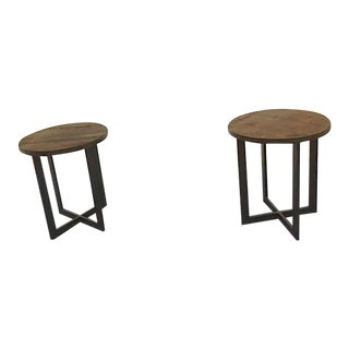 Rustic Round Side Tables - a Pair For Sale