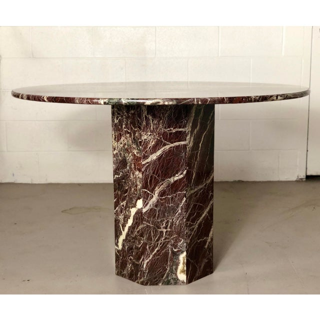 Italian Round Travertine Stone Dining or Center Table For Sale In Detroit - Image 6 of 6