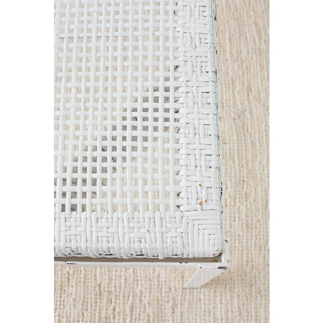 White Danny Ho Fong California Modern Woven Cane Dining Table Set For Sale - Image 8 of 13