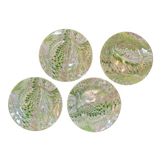 Modern Green Firenze Marbleized Ceramic Cocktail Plates - Set of 4 For Sale