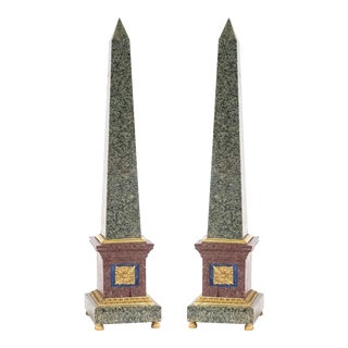 Pair of Grand Tour Style Bronze Mounted Hardstone Obelisks For Sale
