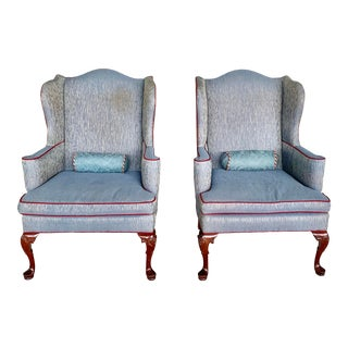 Vintage Laine Furniture Wing Back Chairs- A Pair For Sale