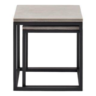 Stax Nesting End Table (Set of 2), Dark Grey, Black For Sale