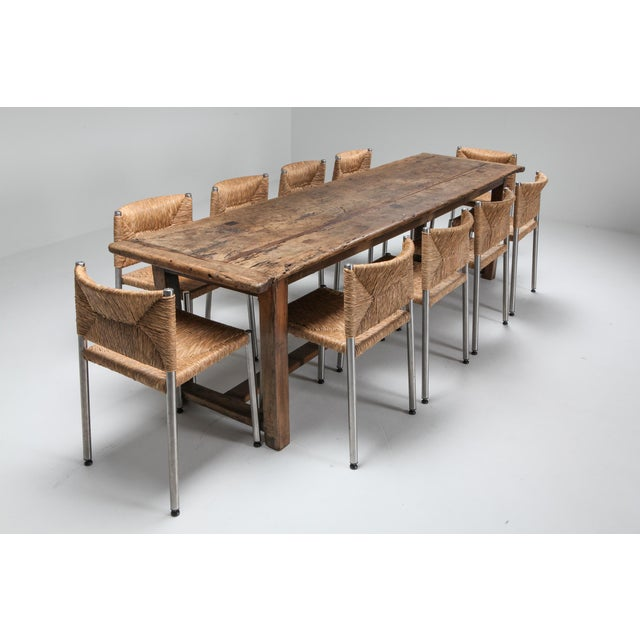 1800s Rustic Modern Refactory Oak Dining Table For Sale - Image 12 of 13