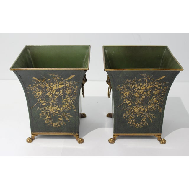 1940s Vintage Dark Green Cachepot With Lion Handles - a Pair For Sale - Image 5 of 10