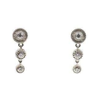 Sterling Silver & Cz Drop Dangling Earrings For Sale
