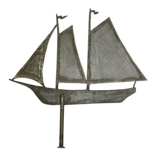 Antique Steel Weathervane Sailing Ship For Sale