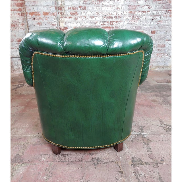 Hancock & Moore Tufted Green Leather Club Chair with Ottoman For Sale In Los Angeles - Image 6 of 11