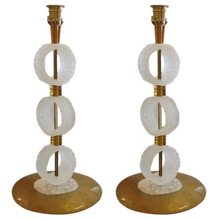 1970s White and Gold Murano Glass Lamps - a Pair