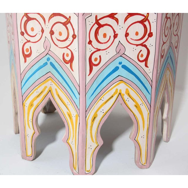 Moroccan Hand Painted Side Tables - a Pair For Sale - Image 11 of 13
