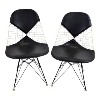 Pair Eames for Herman Miller Dkr Bikini Chairs With Eiffel Base Early 1950s