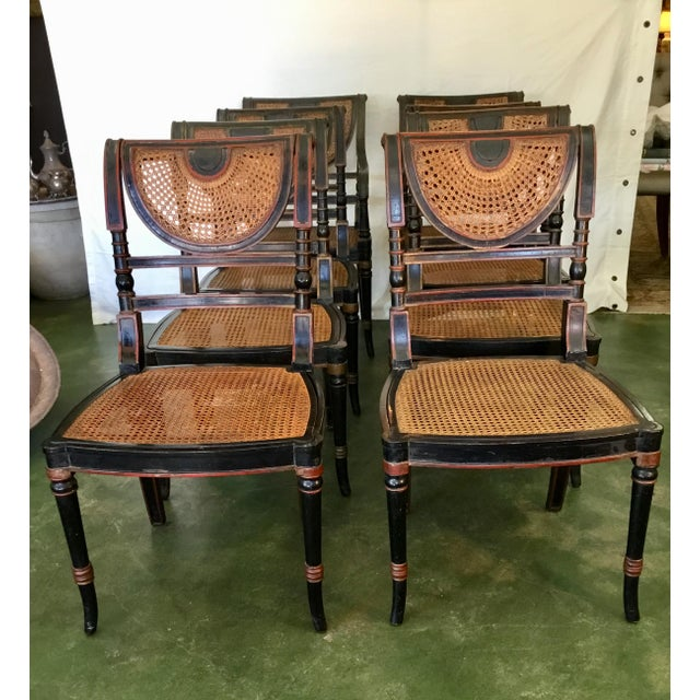 Set of 8 French Cane Dining Chairs Circa 1840 - Two Arm & Six Side Chairs For Sale - Image 13 of 13