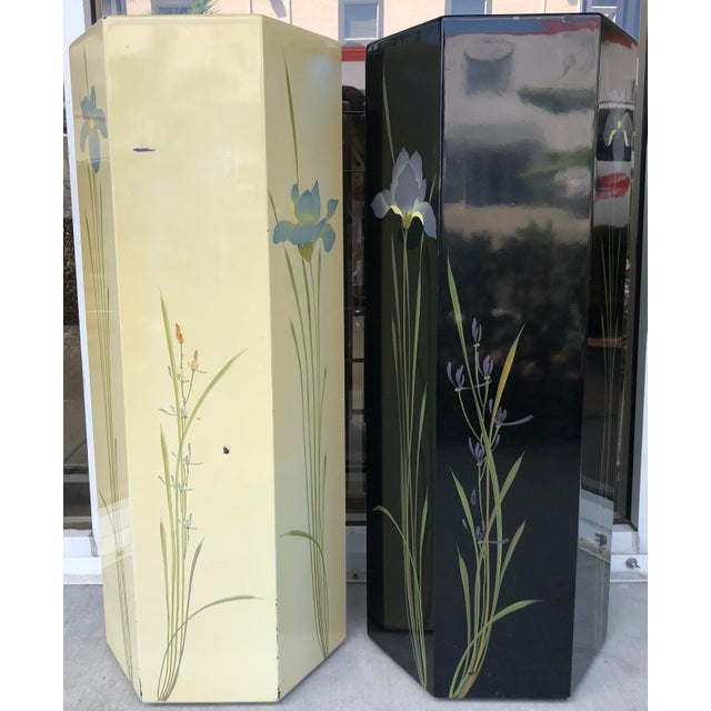 Oriental Hand Painted Pedestals - A Pair For Sale - Image 4 of 9