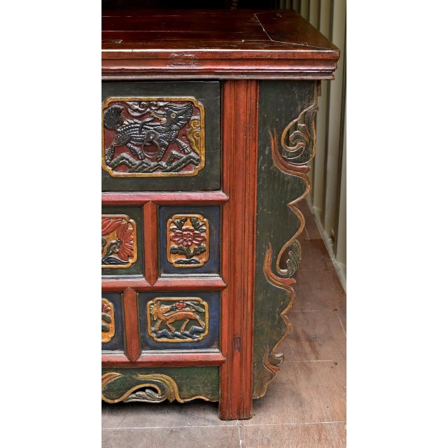 19th Century Tibetan Hand Carved Chest For Sale In Los Angeles - Image 6 of 11