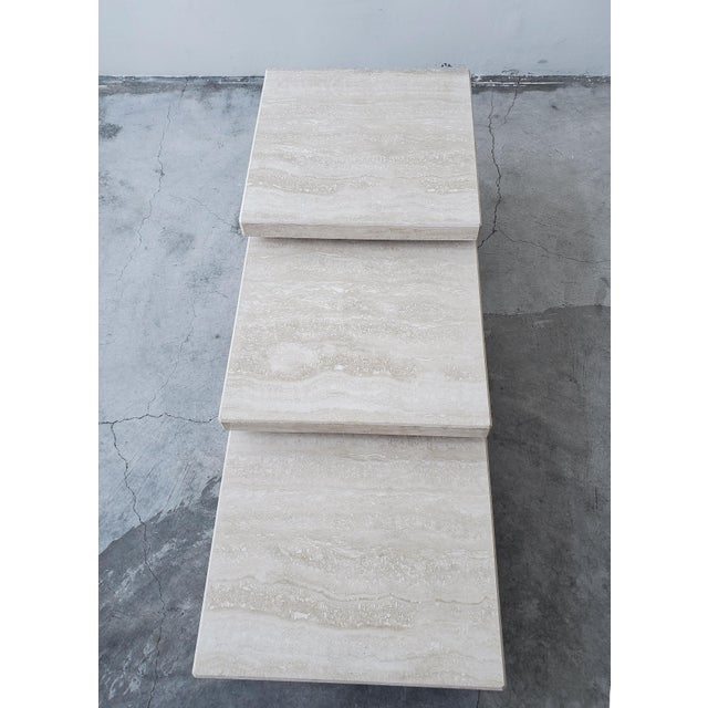 1970s Set of 3 Square Tiered Italian Travertine Bunching Tables For Sale - Image 5 of 8