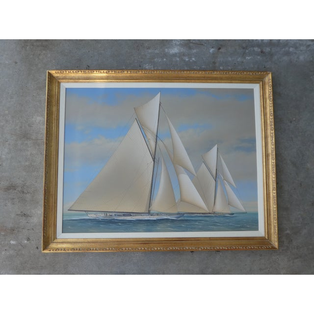 """Yacht Racing Painting Possibly America""""s Cup by Noted Marine Painter Richard Lane sold as found in vintage condition..."""