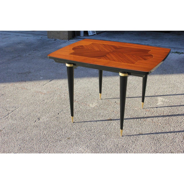 Art Deco 1940s Art Deco Exotic Macassar Ebony Game Table For Sale - Image 3 of 13