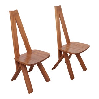 Pair of Two Pierre Chapo S45 Chairs in Solid Elm For Sale