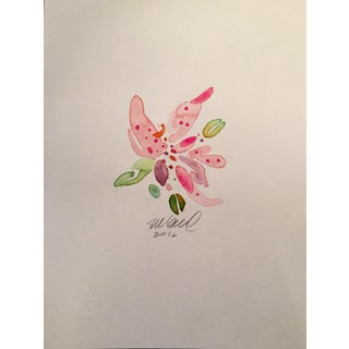 Pink Stargazer Lily Watercolor For Sale