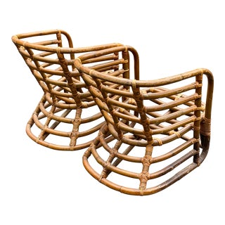 Vintage Coastal Rattan Lounge Chairs - a Pair For Sale