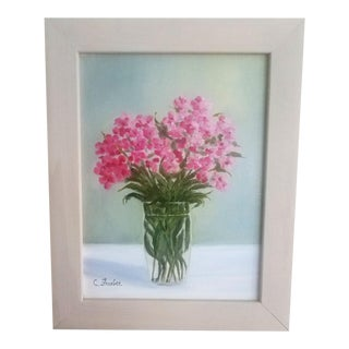 """Modern """"Pink Perennial"""" Original Oil Painting by Christine Frisbee"""
