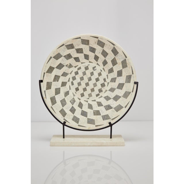 "1990s Contemporary Marquis Collection Tessellated Stone ""Illusion"" Plate on Iron Stand For Sale - Image 12 of 12"