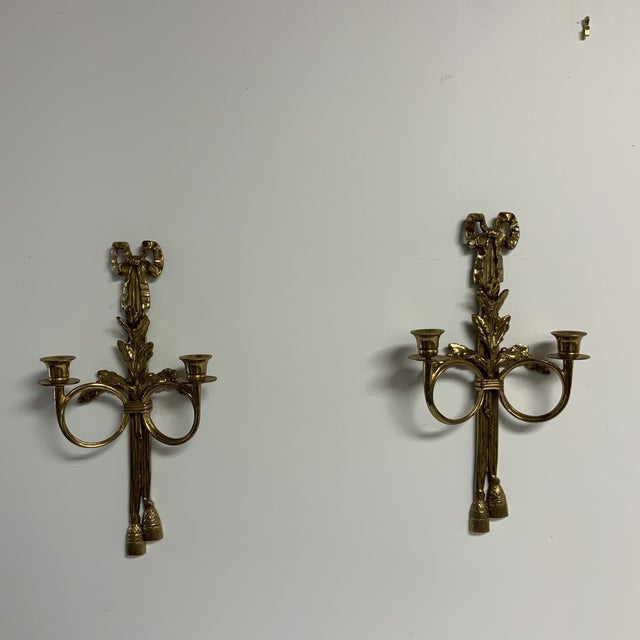 Brass Bow and Tassel Candle Sconces - a Pair For Sale In Washington DC - Image 6 of 6