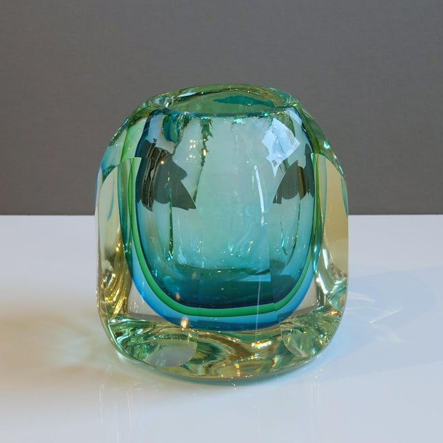Murano Flavio Poli Seguso Green Blue Block Votive Trinket Paper Weight For Sale In New York - Image 6 of 7