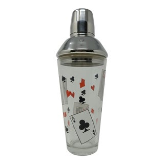 Arcoroc Barware Made in Usa Suit of Cards Glass Martini Shaker For Sale
