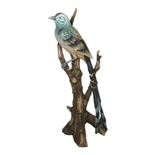 1970s Traditional Gray Porcelain Flycatcher Figurine For Sale