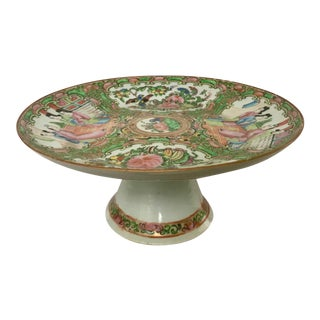 19th Century Chinese Export Rose Medallion Tazza For Sale