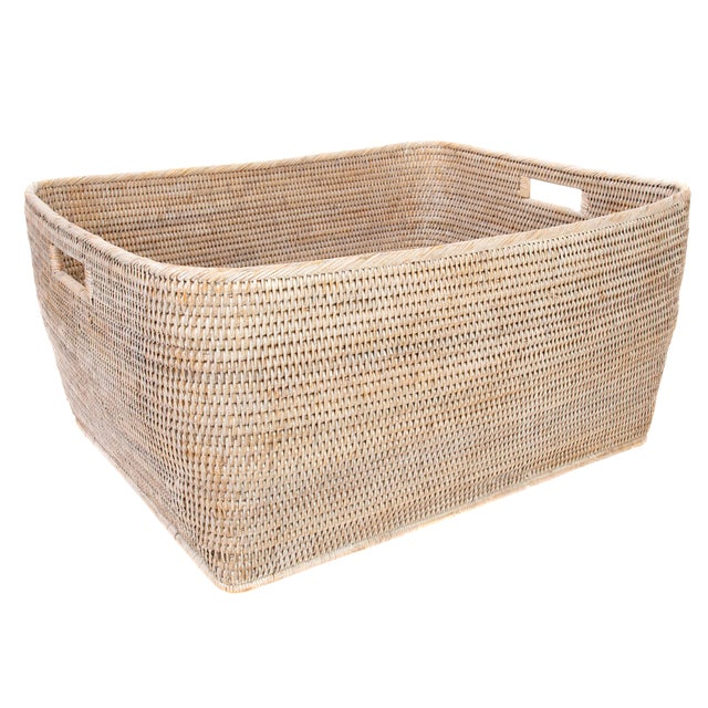 "Artifacts Rattan Rectangular Basket 28""x22x13"" For Sale"