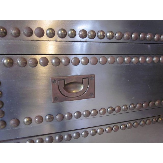 1950s Stainless and brass Studded Jewelry Box For Sale - Image 5 of 8