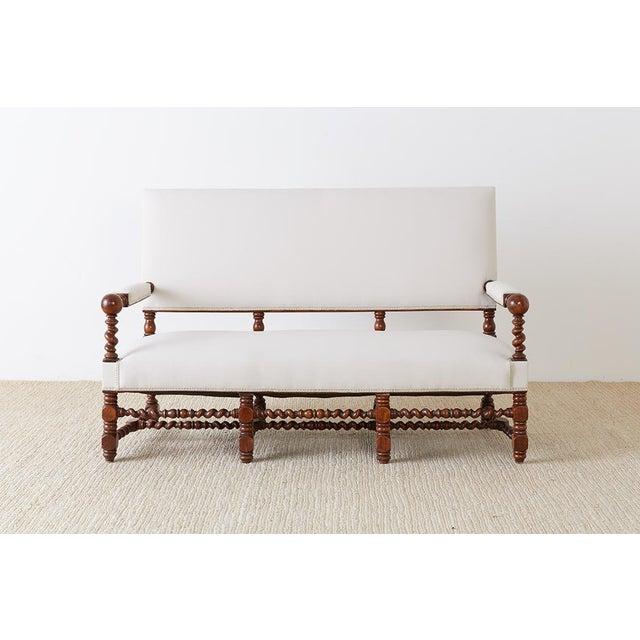 Jacobean 19th Century English Barley Twist Sofa Settee For Sale - Image 3 of 13