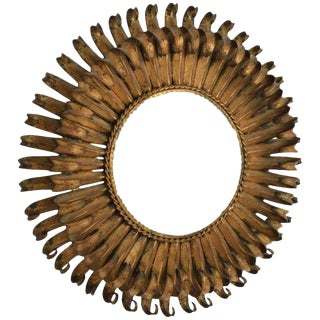 Hollywood Regency Sunburst Mirror Wrought Iron Brutalist Era For Sale