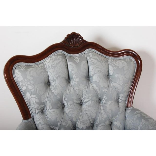 Vintage Rococo Style Silk Upholstered Armchair - Image 3 of 8