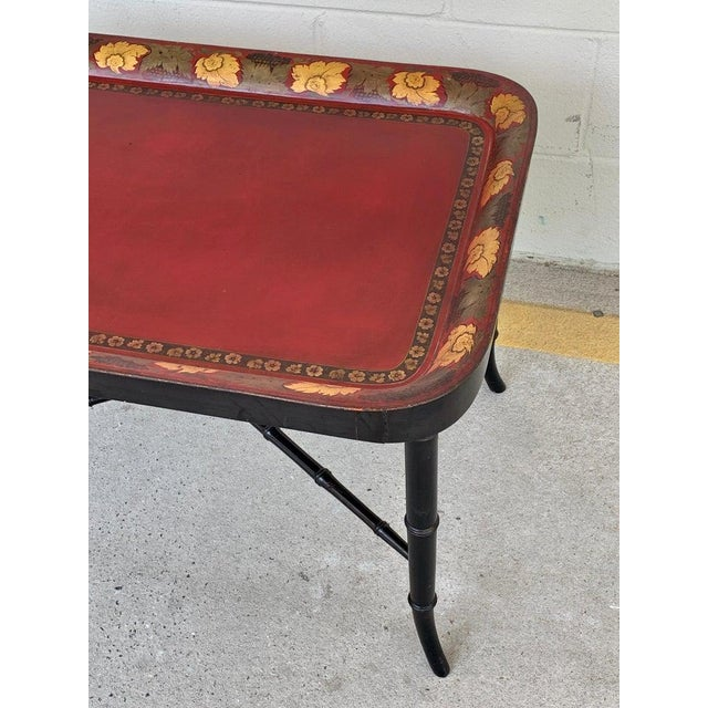 Regency Tole Tray Table in Red, Faux Bamboo Ebonized Base For Sale - Image 11 of 12
