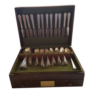 Vintage Wm. Rogers & Son Silver Plated Flatware With Walnut Storage Case - Set of 76 For Sale