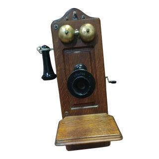 Early 1900's Vintage Stromberg-Carlson Wood Hand Crank Wall Telephone For Sale