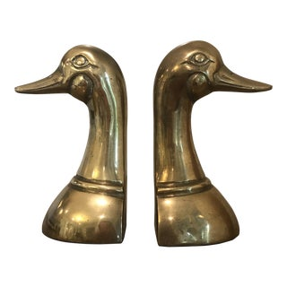 1970s Vintage Solid Brass Duck Bookends - a Pair For Sale