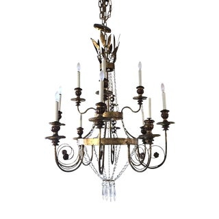 Mid 20th Century Italian Gold Leaf and Crystal Chandelier For Sale