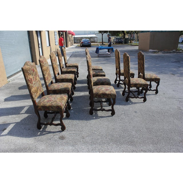 1900 - 1909 1900s Vintage French Louis XIII Style Os De Mouton Dining Chairs- Set of 8 For Sale - Image 5 of 13