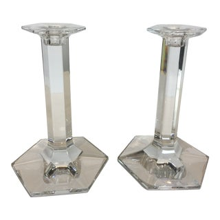 Vintage Baccarat Clear Crystal Modern Hexagonal Base Candlesticks - a Pair For Sale