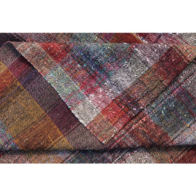 Vintage Turkish Multi-Color Hand Made Flatweave Rug - 6′8″ × 10′8″ - Image 4 of 5