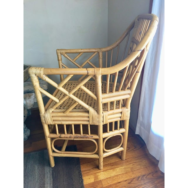 Vintage Mid Century Chinoiserie Brighton Pavilion Style Rattan & Cane Arm Chair For Sale - Image 4 of 7